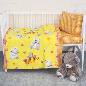 Постельное белье в детскую кроватку из поплина 4662/1 День рождения с простыней на резинке фото