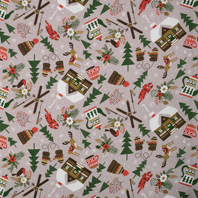 Ткань на отрез рогожка 150 см 29038/1 Зимние забавы фото
