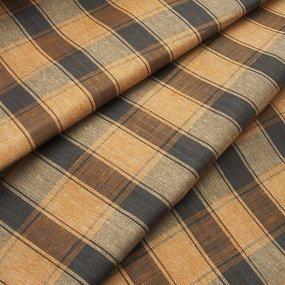 Ткань на отрез полулен полотенечный 50 см 3/55/3 Клетка коричневый фото