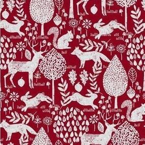 Ткань на отрез рогожка 150 см 20000/1 Сказочный лес цвет красный фото