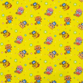 Ткань на отрез фланель 90 см 5431/4 Котики цвет желтый фото