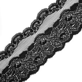 Кружево эластичное 7,5см черный 2267 уп 10 м фото