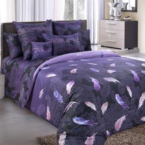 Ткань на отрез сатин набивной 220 см 203585 Дуновение основа 5 фиолет. фото