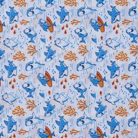 Набор детских пеленок ситец 4 шт 90/120 см 20023/1 Акулы фото