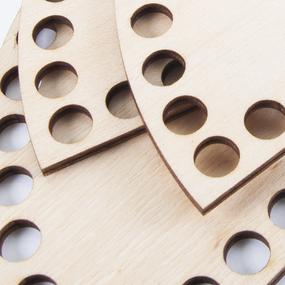 Деревянное донышко для корзин полукруг 20х10 см фото
