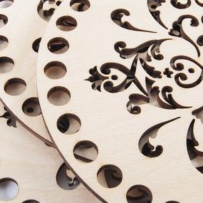 Деревянное донышко крышка для корзин с узором АК4 15 см фото