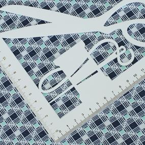 Ткань на отрез кулирка Квадраты 4073-V17 цвет синий фото