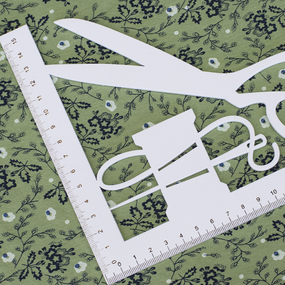 Ткань на отрез кулирка Цветы на зеленом 2099 фото
