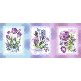 Ткань на отрез вафельное полотно набивное 150 см 20662/1 Аромат весны 1 фото