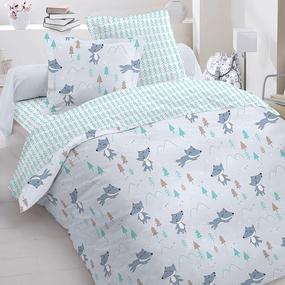 Постельное белье в детскую кроватку 8115 Лисы с простыней на резинке фото