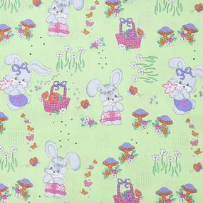Мерный лоскут бязь ГОСТ детская 150 см 1304/3 Лесная сказка цвет зеленый 4.2 м фото