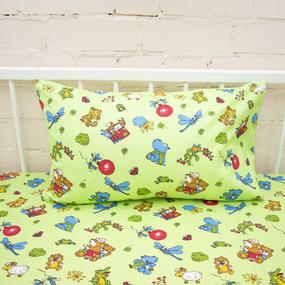 Постельное белье в детскую кроватку из бязи ГОСТ 383/2 Зоопарк цвет зеленый фото