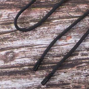 Шнур круглый декор наконечник металл надпись резьба 130см черный уп 2 шт фото