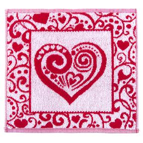 Салфетка махровая 3877 Сердечко ажурное 30/30 см цвет красный фото