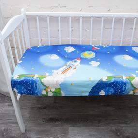 Постельное белье в детскую кроватку из перкаля 13095/1 с простыней на резинке 160/80/15 фото