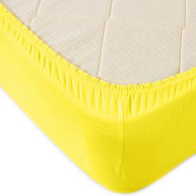 Простыня трикотажная на резинке Премиум М-2021 цвет желтый 90/200/20 см фото