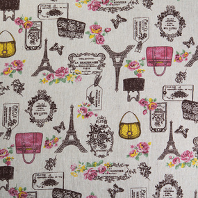 Ткань на отрез лен TBY-DJ-11 Париж фото