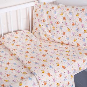 Постельное белье в детскую кроватку 5318/2 Малыши цвет бежевый перкаль с простыней на резинке фото