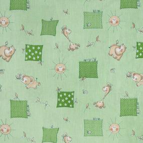 Ткань на отрез бязь ГОСТ детская 150 см 366/2 Жирафики цвет зеленый фото