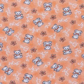 Ткань на отрез фланель 80 см 18079/1 Мишки цвет персик фото