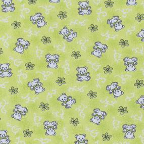 Ткань на отрез фланель 80 см 18079/2 Мишки цвет салатовый фото
