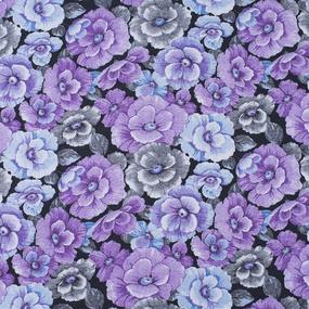 Ткань на отрез фланель 80 см 25051 Цветы на черном фото