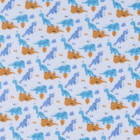 Ткань на отрез фланель 90 см 95051 Динозаврики цвет голубой фото