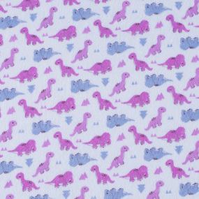 Ткань на отрез фланель 90 см 95052 Динозаврики цвет розовый фото