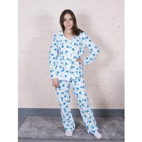 Пижама женская фланель Цветок цвет синий р 40-42 фото