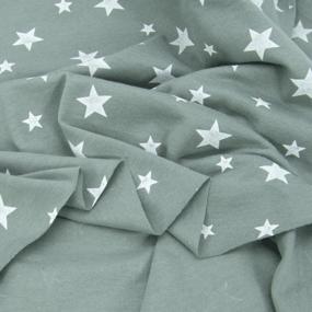 Ткань на отрез кулирка 1100-V2 Звезды цвет светлый хаки фото