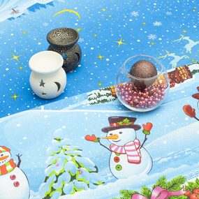 Скатерть рогожка 18746/1 Новогодние снеговики 150/150 фото