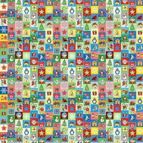 Ткань на отрез рогожка 150 см 30167/4 Новогодняя мозайка фото