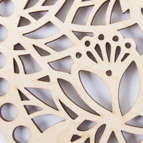 Деревянное донышко для корзин ажурный круг листики АК16 15 см фото