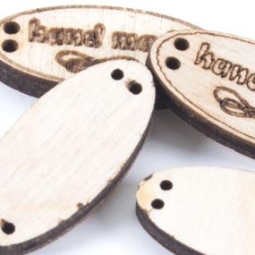Бирки-ярлыки из дерева с гравировкой овальные 10х30 мм фото