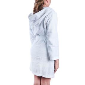 Халат женский махровый с капюшоном белый р 44 фото