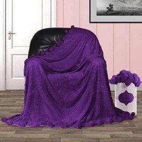 Покрывало бубон с рисунком 200/220 цвет фиолетовый фото