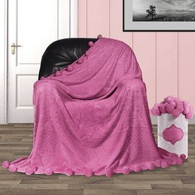 Покрывало бубон с рисунком 200/220 цвет розовый фото
