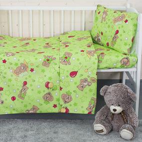 Постельное белье в детскую кроватку из бязи 350/2 Мишки зеленый ГОСТ фото