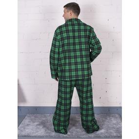 Пижама мужская фланель клетка 56-58 цвет зеленый фото