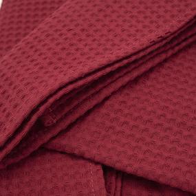 Вафельная накидка на резинке для бани и сауны Премиум женская с широкой резинкой цвет 066 бордо фото