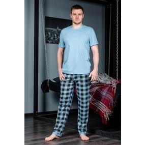 Пижама футболка+брюки 1000-16 цвет Голубой р 58 фото