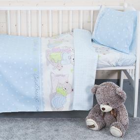 Постельное белье в детскую кроватку из поплина 1703/1 голубой с простыней на резинке фото