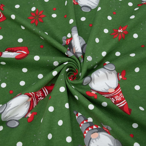 Ткань на отрез кулирка R7109-V3 Гномики цвет зеленый фото
