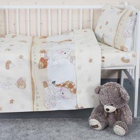 Постельное белье в детскую кроватку 1636/1 Мой ангелочек бежевый с простыней на резинке поплин фото