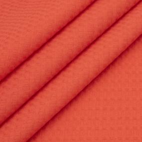 Ткань на отрез вафельное полотно гладкокрашенное 150 см 240 гр/м2 7х7 мм цвет 033 цвет коралл фото