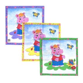 Платки носовые детские 20х20 Бегемотик (12 шт) фото