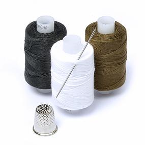 Набор нитки армированные Мастеровой 100ЛЛ цв.хаки, белый, черный уп 3шт 200м фото