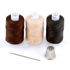 Набор нитки армированные Мастеровой 100ЛЛ цв.т.серый, коричневый, бежевый уп 3шт 200м фото