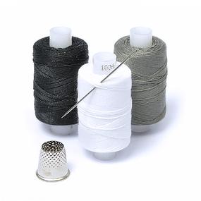 Набор нитки армированные Мастеровой 100ЛЛ цв.св.серый, белый, черный уп 3шт 200м фото