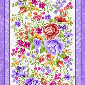 Ткань на отрез вафельное полотно 50 см 5618/2 Цветочная вышивка фото